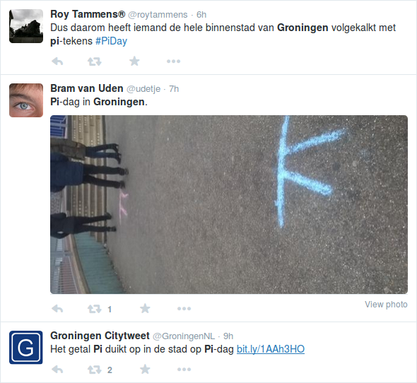 Pi Day 2015: Pi with streetchalk in Groningen 1