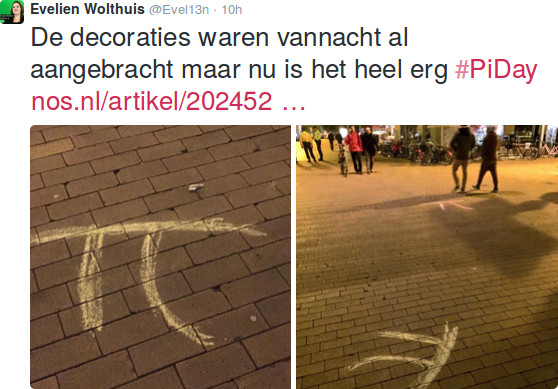 Pi Day 2015: Pi with streetchalk in Groningen 2