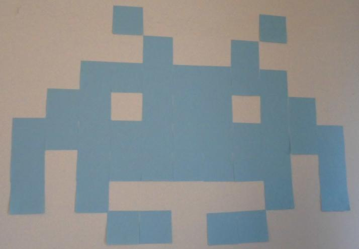 Post-it pixel art of space invader